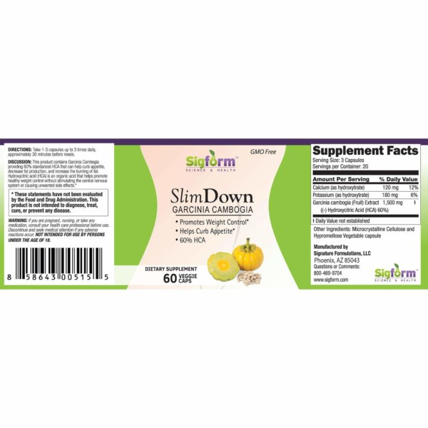SLIM DOWN GARCINIA 60 LABEL