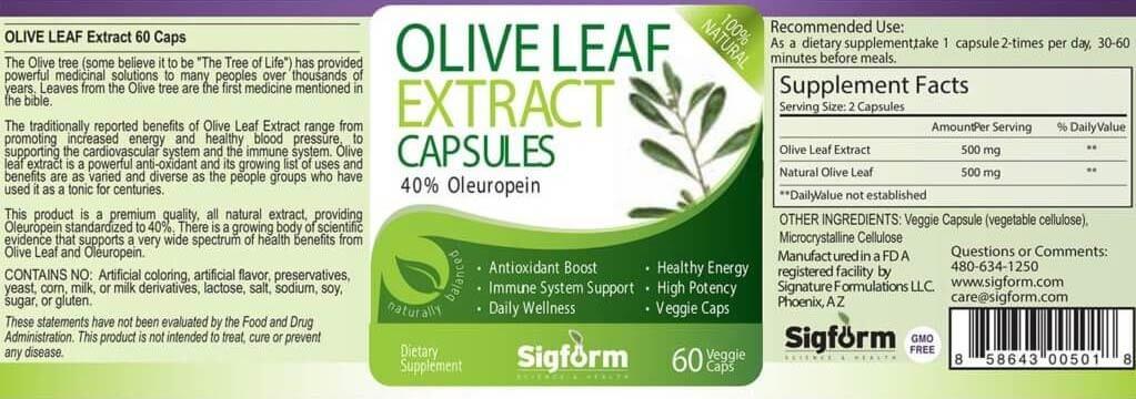 olive leaf capsules 60 count