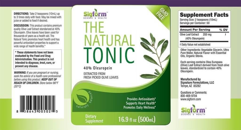 Olive Leaf Tonic 500ml 16.9 fl. oz